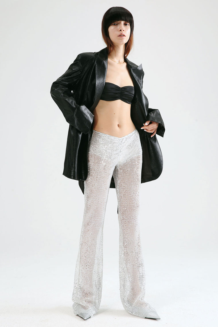 Sheer Sequin Bell Pants