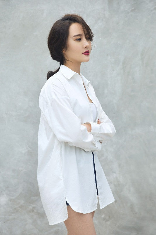 Button Front Oversized Shirt