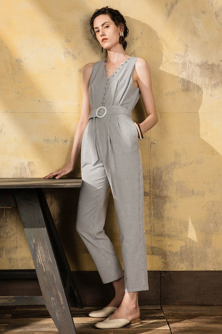 Striped V Neck Belted Jumpsuit