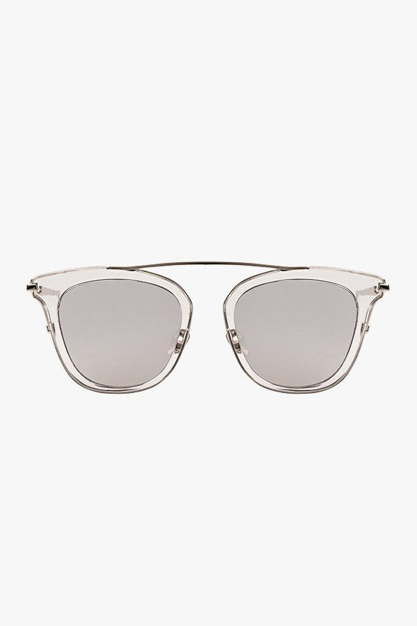 Clear Frame Mirrored Sunglasses