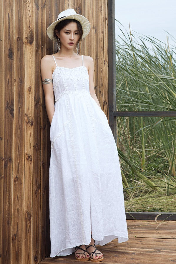 Sleeveless White Maxi Dress