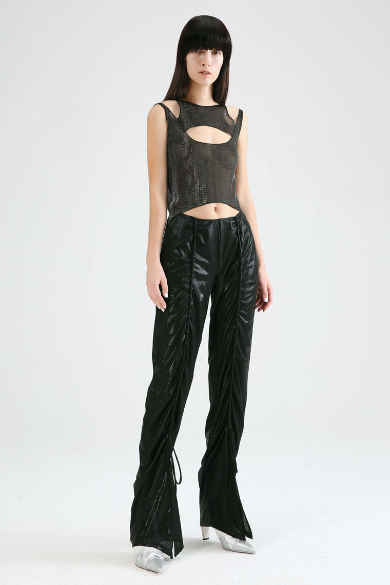 Textured Bell Bottom Pants