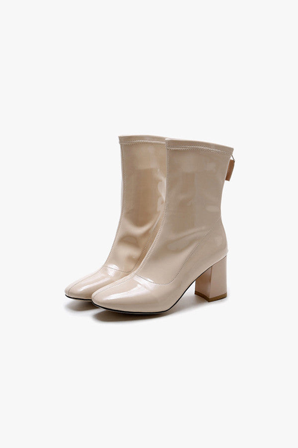 Faux Leather Glossy Nude Boots