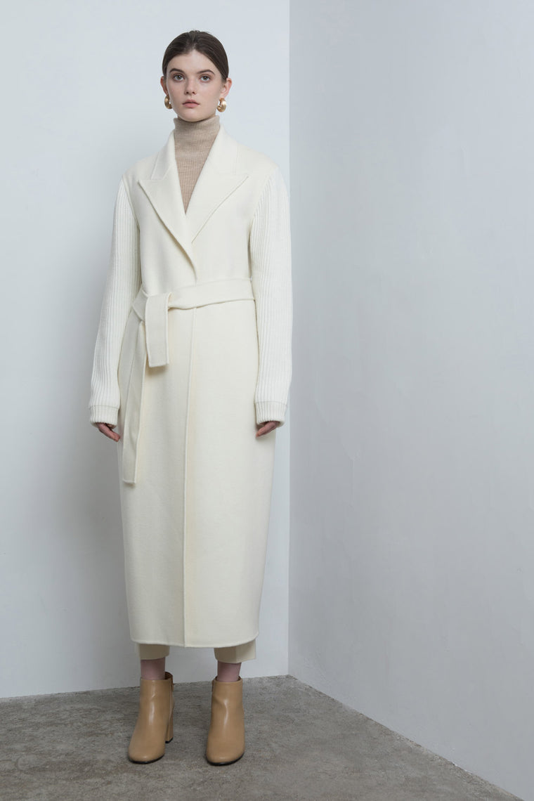 Wrap Wool Coat with Ribbed Knit Sleeves