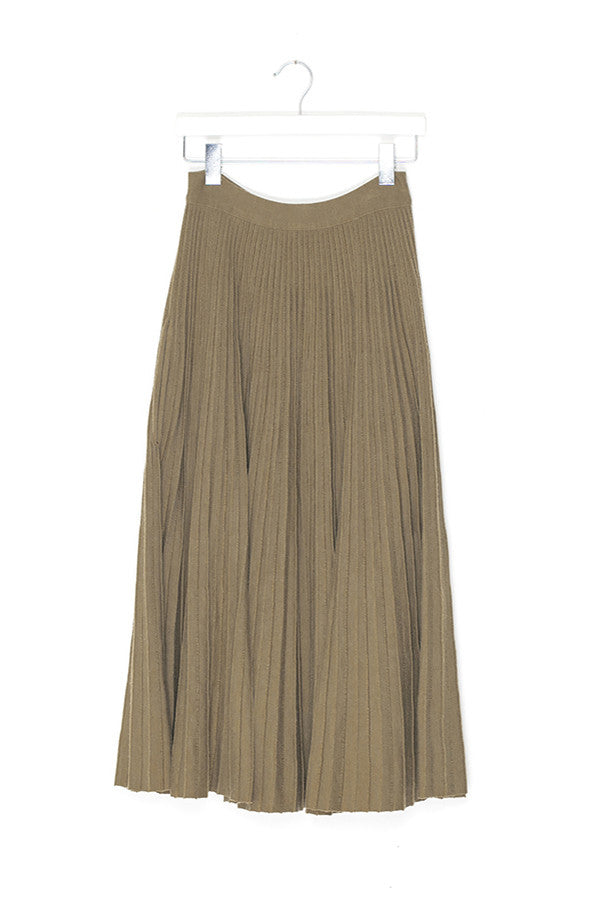 Pleated Wool Long Skirt