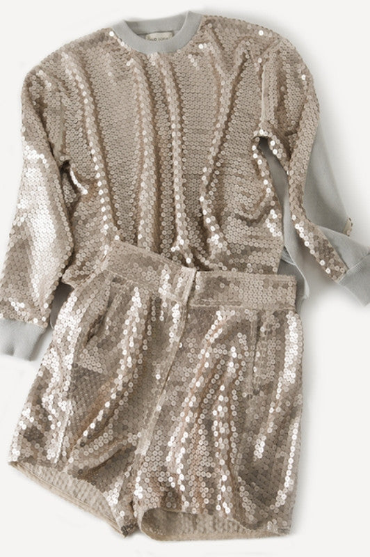 Gold Sequin Top and Shorts Party Set