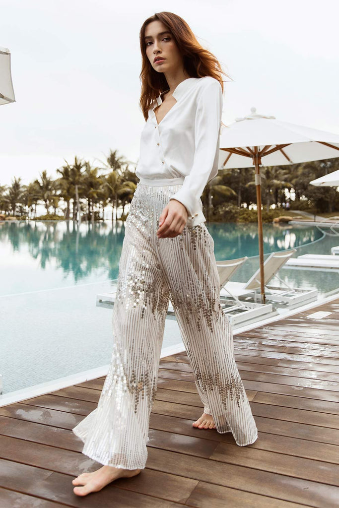 Sequin Wide-Leg Pants