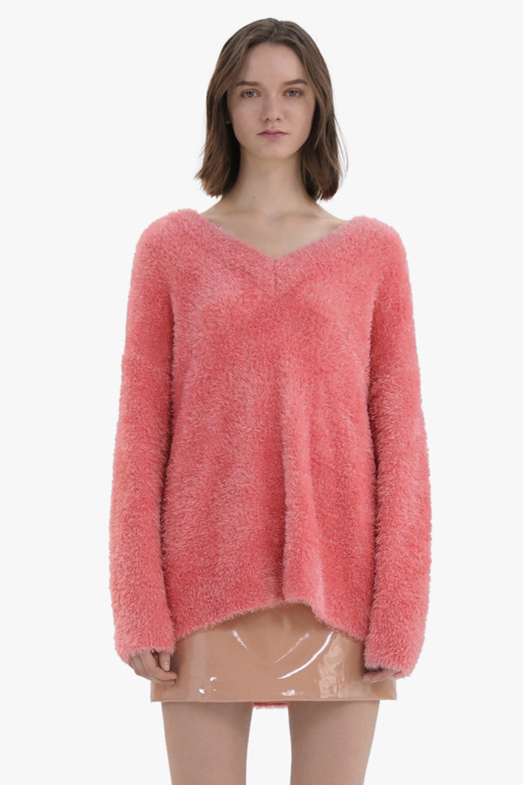V-Neck Fuzzy Sweater