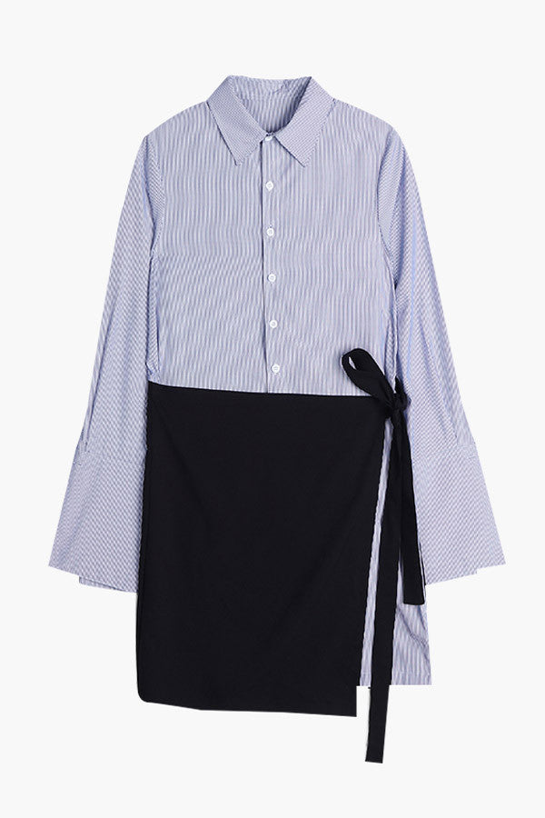 Bell Sleeved Striped Shirt Dress