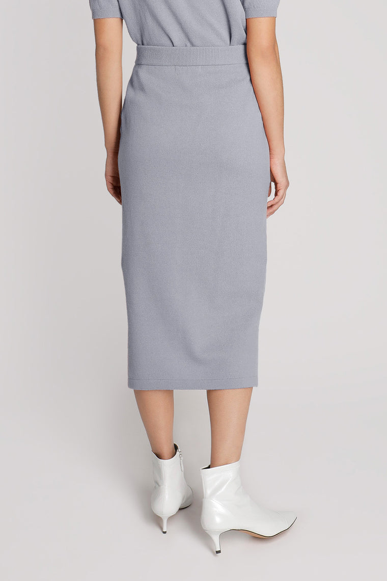 High Waist Cashmere Midi Skirt