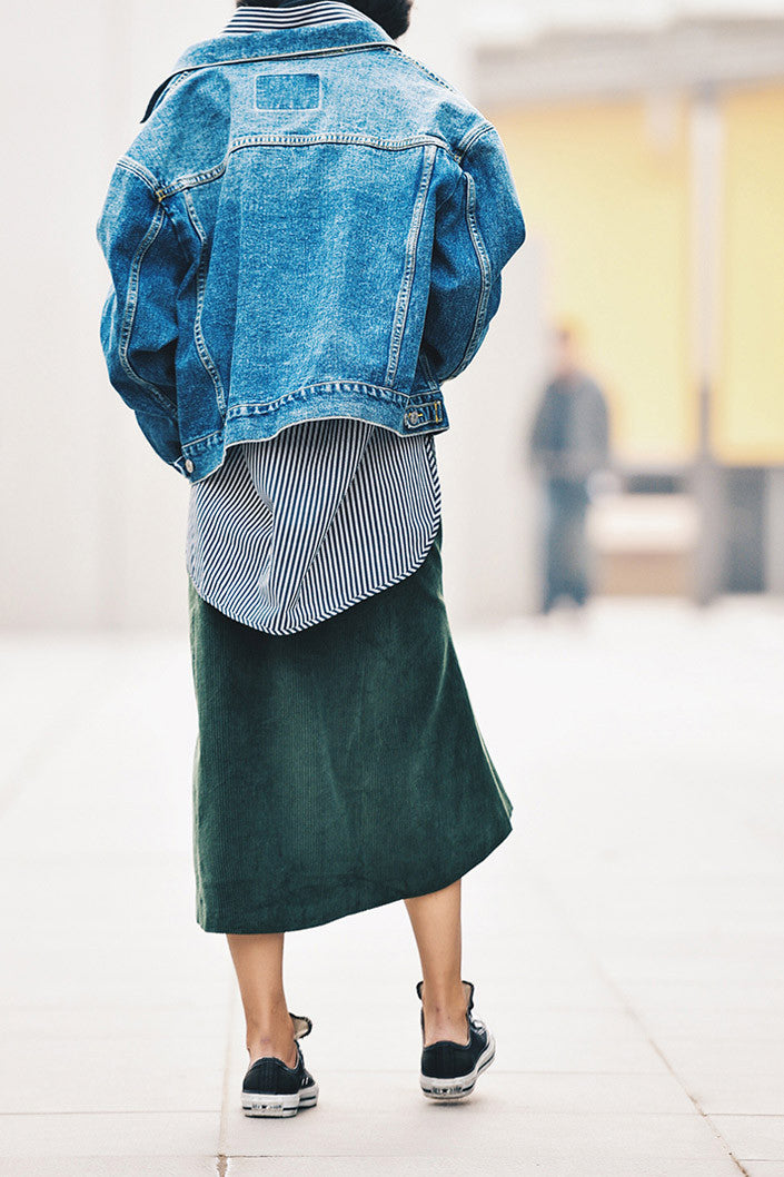 Vintage Green Corduroy Fishtail Skirt