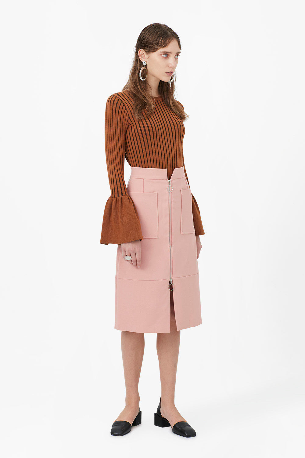 High Waist Zipper Midi Skirt