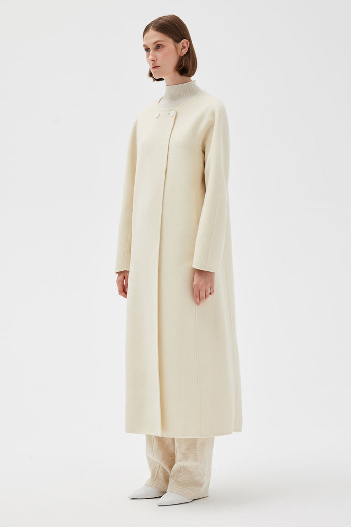 Round Neck Wool Coat
