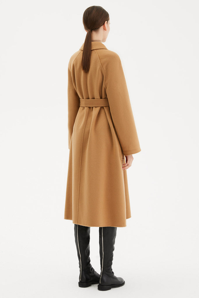Textured Wool Belted Wrap Coat
