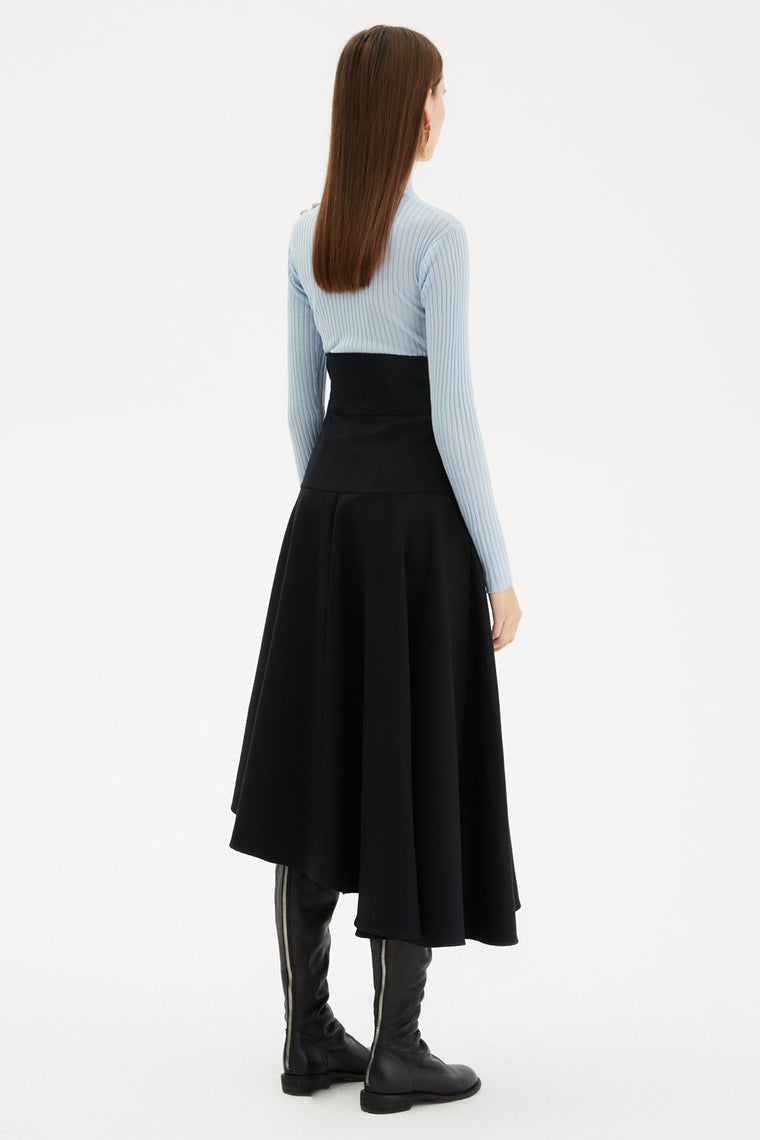 High Waist Button Front Skirt