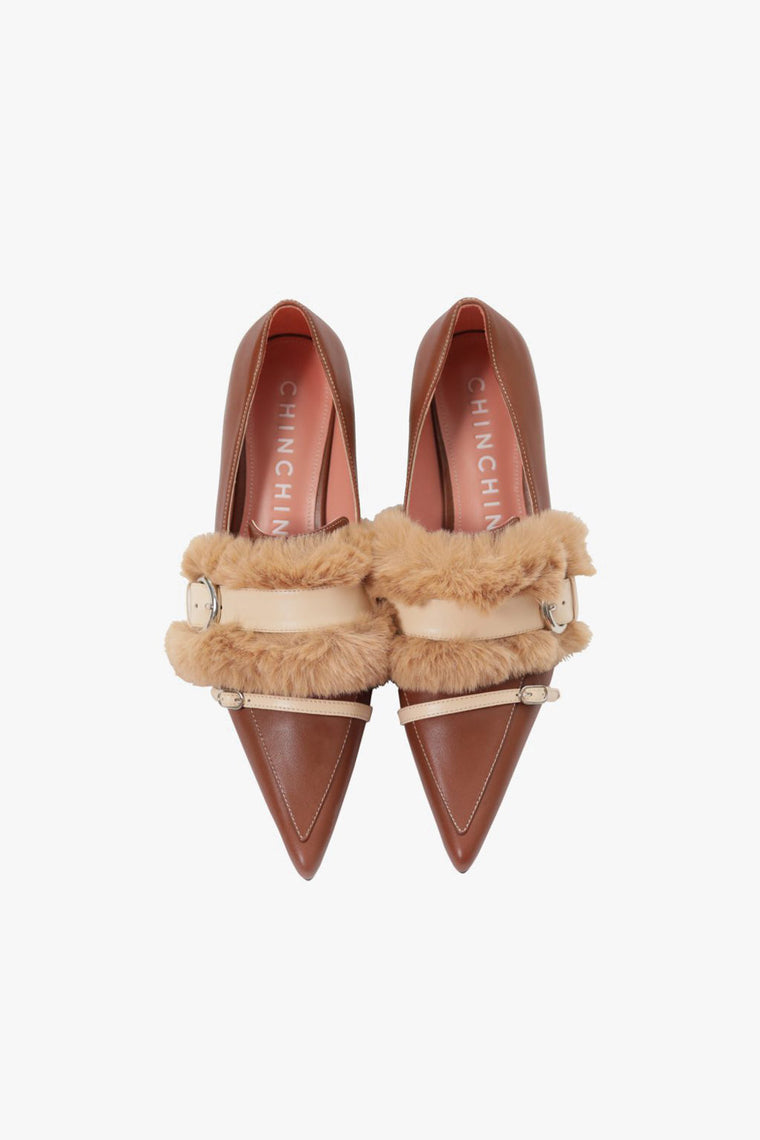 Leather Faux Fur Low Heel Pumps