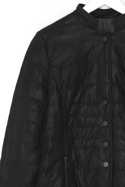 Short Collar Padded Leather Jacket