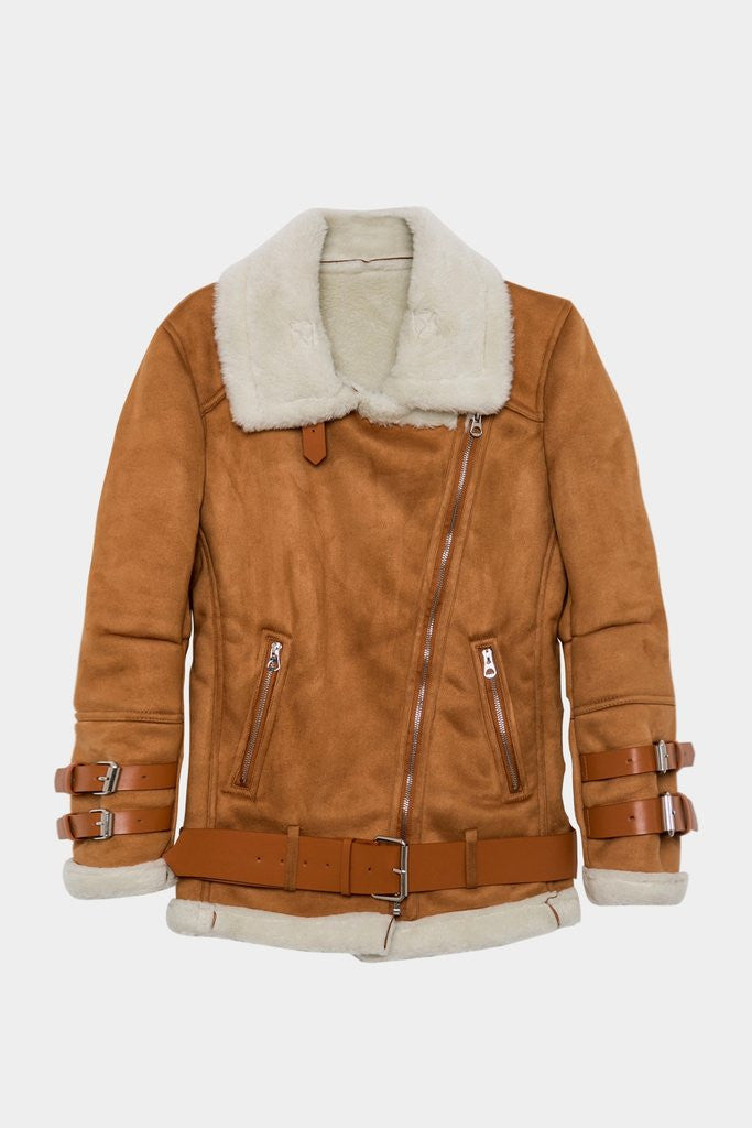 Suede and Faux Fur Moto Jacket