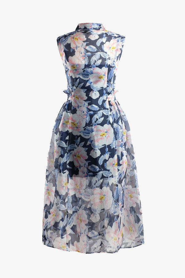 Fit + Flare Sleeveless Floral Dress