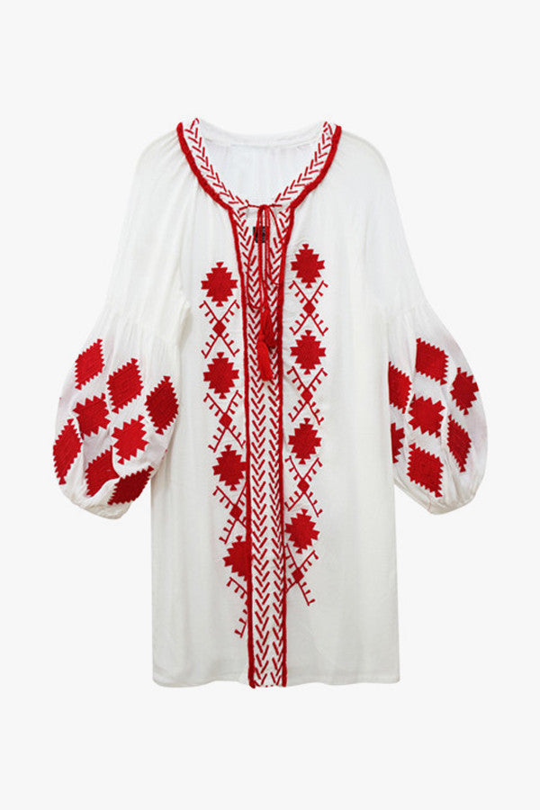 Embroidered Puff Sleeved Tunic Dress