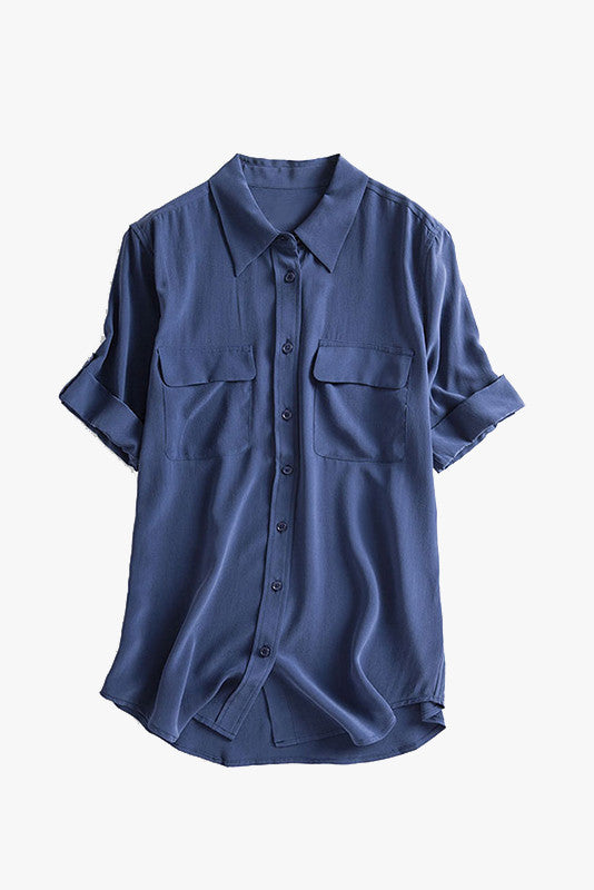 Silk Loose Button Front Shirt