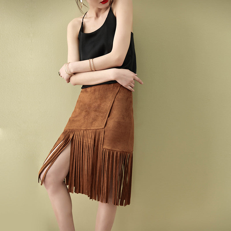Faux Suede Mini Skirt with Fringe