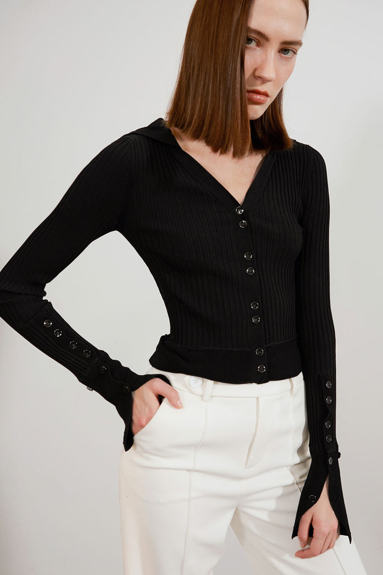 V-Neck Button Up Sweater