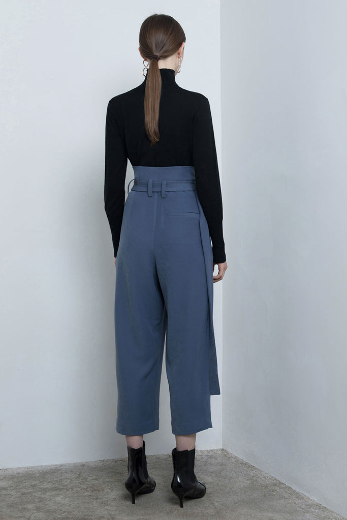Crop Buckle Belt Pants