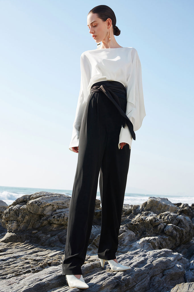 Black High Rise Satin Belt Pants