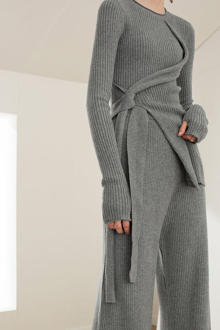 Wide Leg Stretch Wool Blend Pants