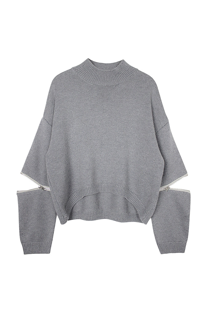 Cut Out Zipper Sleeved Crop Sweater