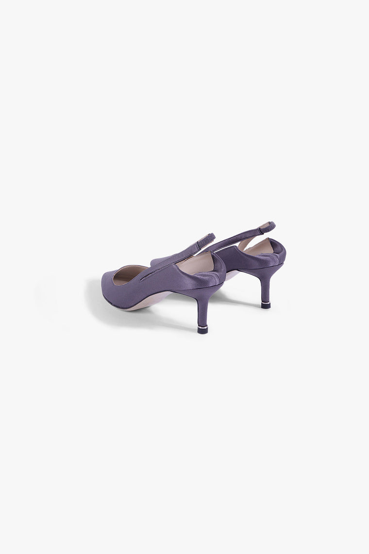 Satin Slingback Pumps in Violet