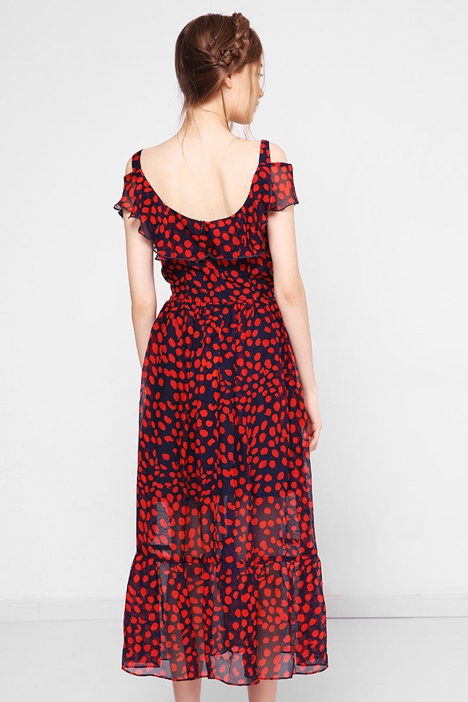 Off-The-Shoulder Silk Midi Dress