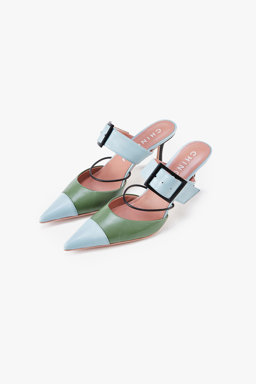 Pointed Color Block Mule Pumps