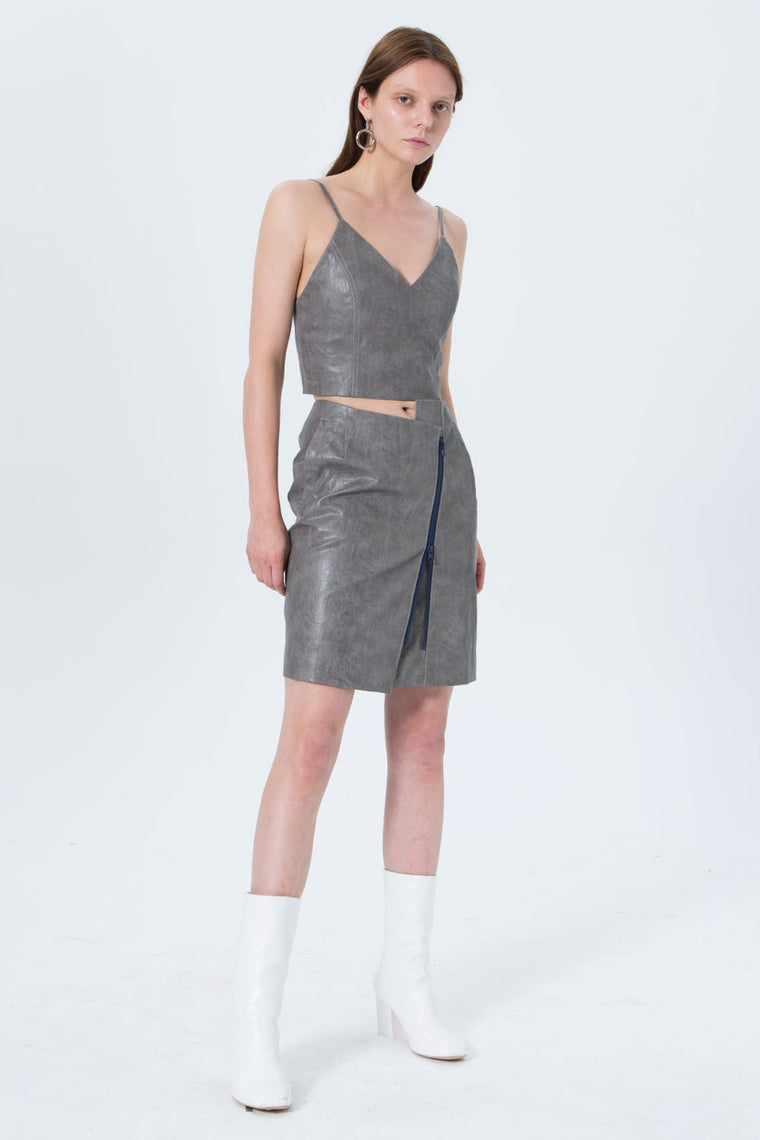 Embossed Faux Leather Asymmetrical Skirt