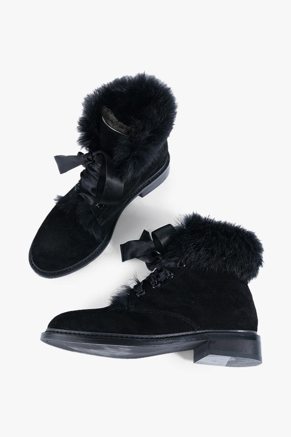 Suede and Wool Snow Boots