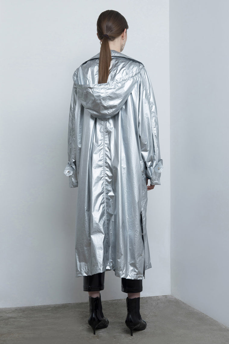 Oversized Metallic Trench Coat
