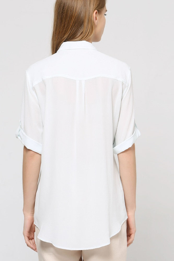 Button Front Silk Shirt