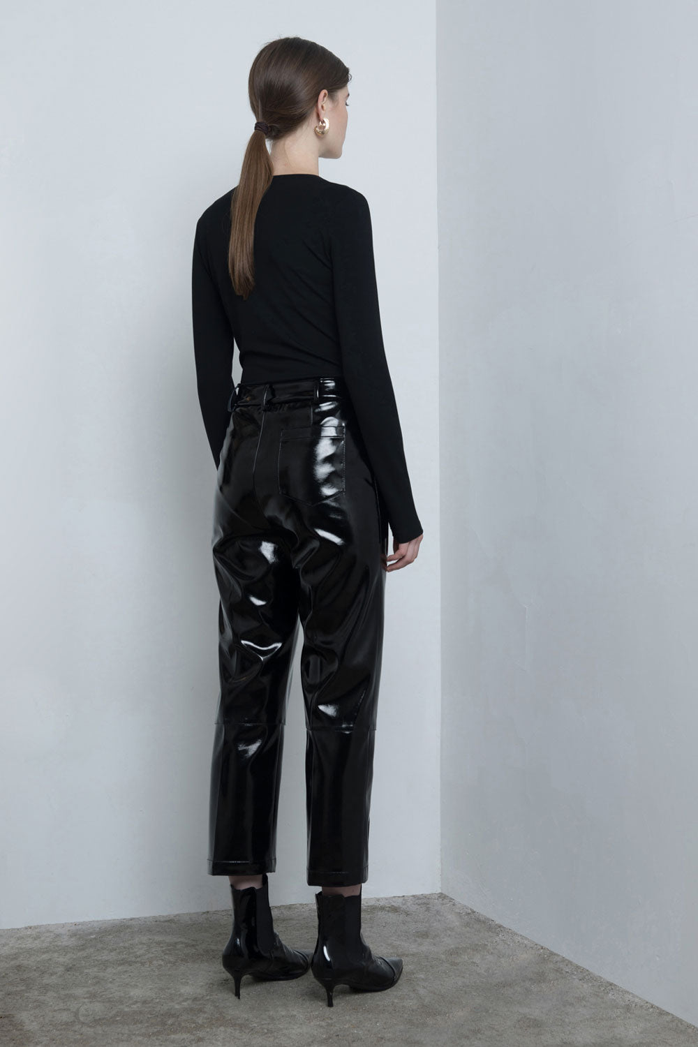 Crop Faux Leather Pants