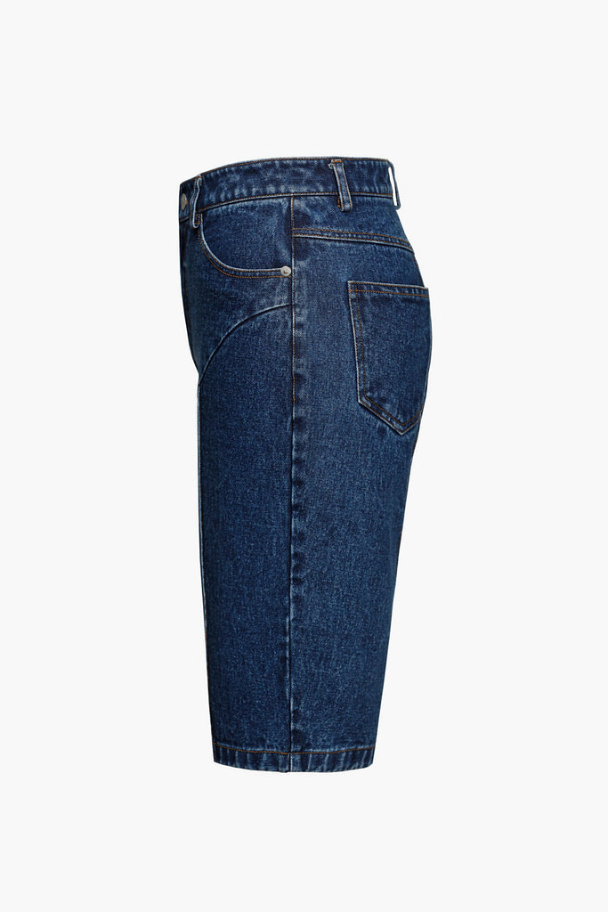Mid-Rise Straight Short Jeans