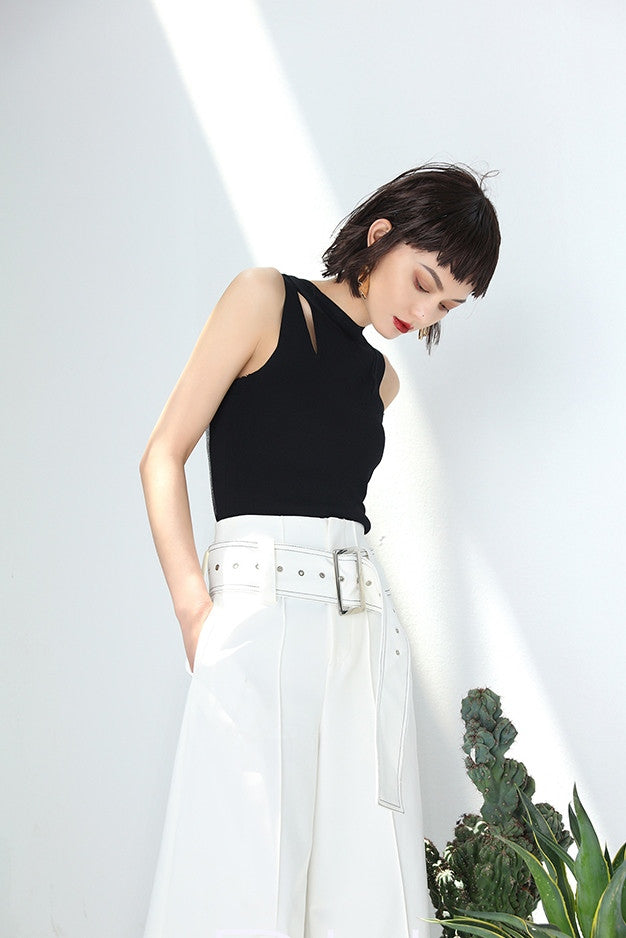 White Belted High Waist Pants