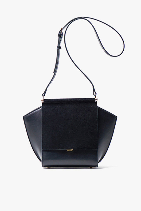 Black Mini Leather and Suede Crossbody Bag