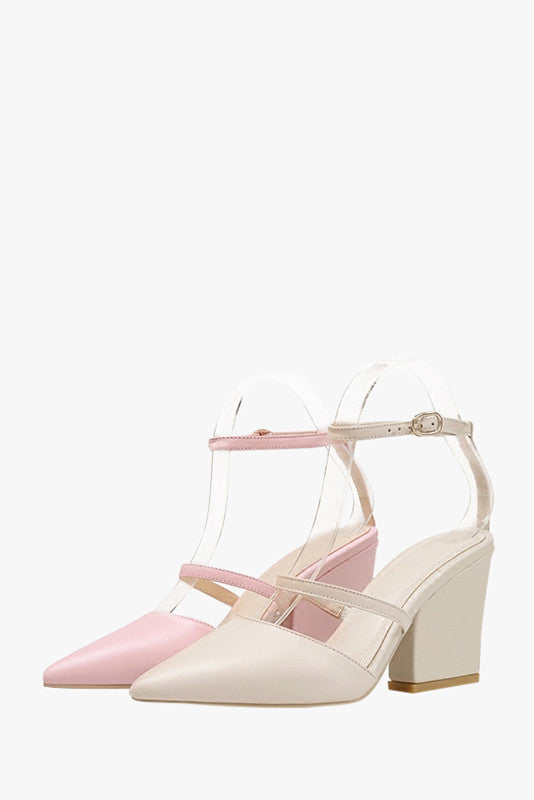 Pointed Leather Heel Sandals