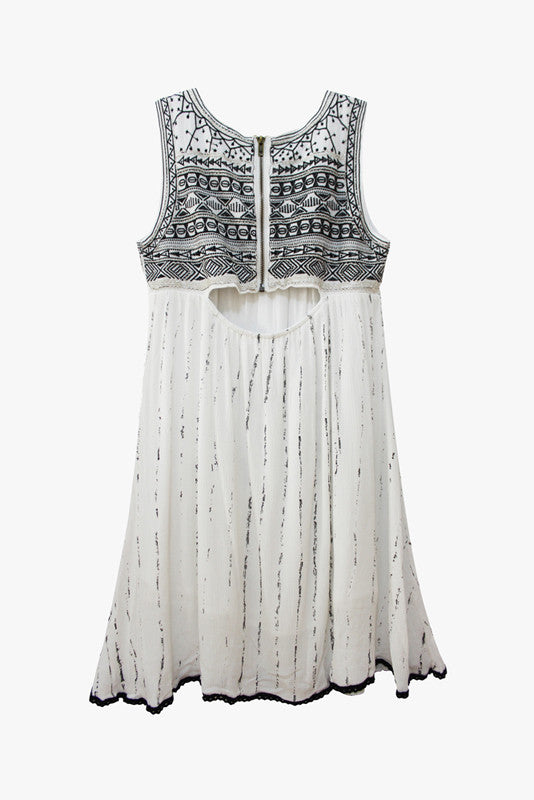 Embellished Cut-Out Back Mini Dress