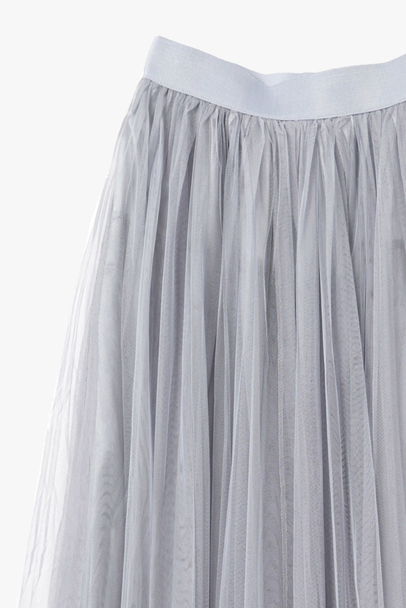 Gray Tulle High Waist Midi Skirt