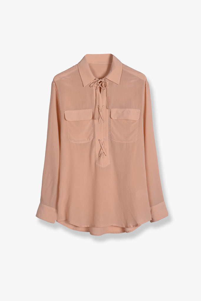 Laced Up Silk Shirt