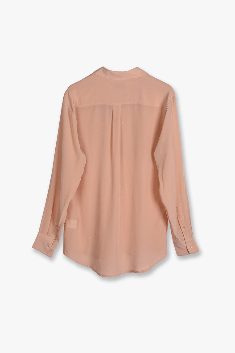 Lace Up Long Sleeve Silk Shirt