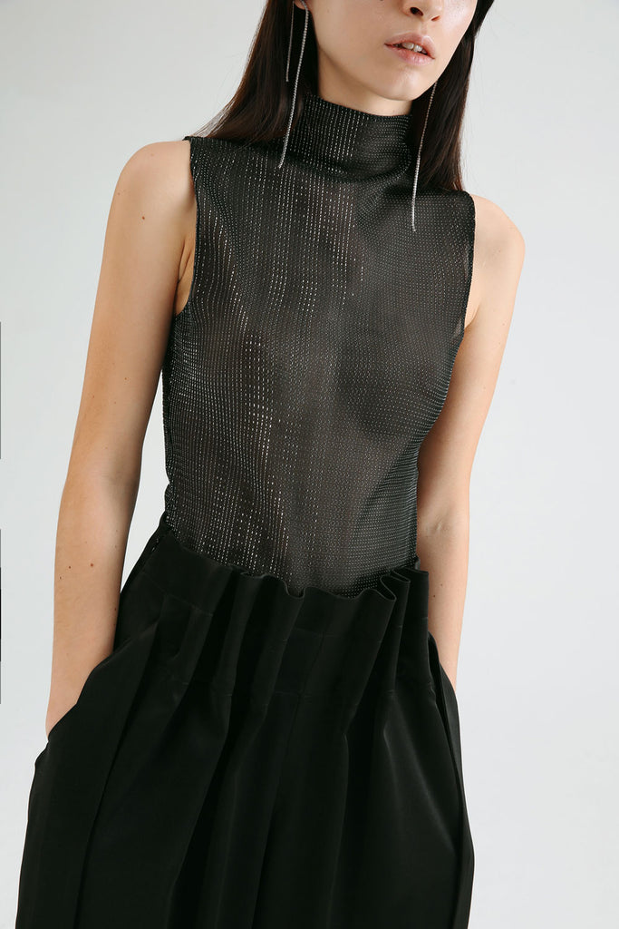 High Collared Sheer Bodysuit