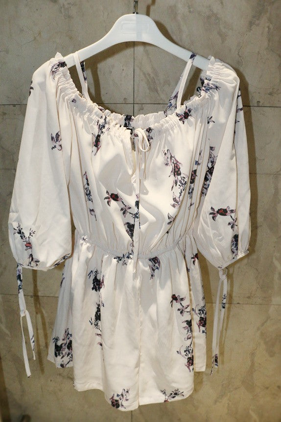Off Shoulder Floral Chiffon Romper