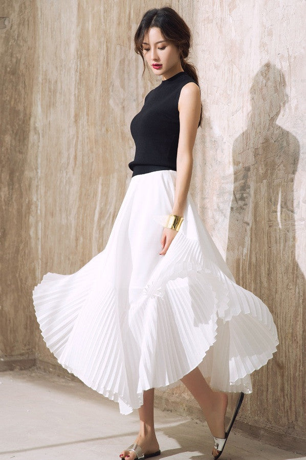 High Waist Pleated Chiffon Maxi Skirt